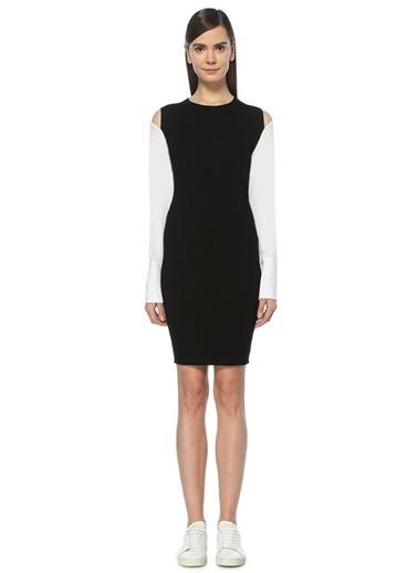 Mo&Co Dar Mini Triko Elbise Siyah